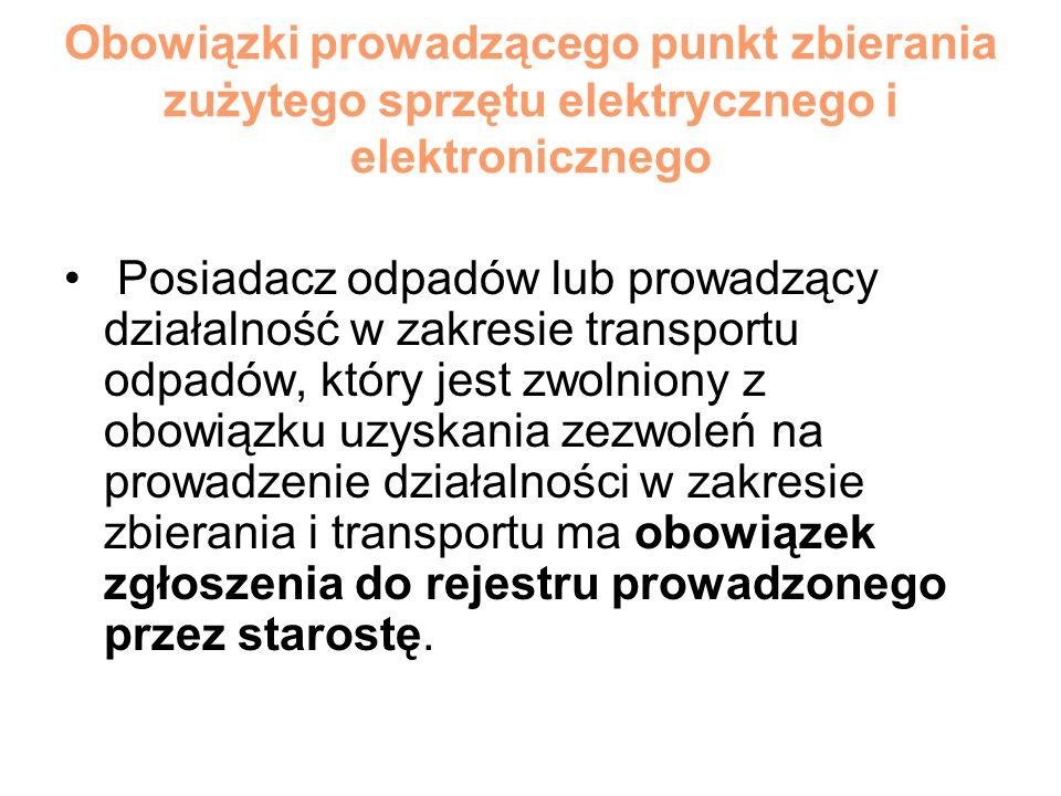 Obowiązki prowadzącego punkt zbierania zużytego sprzętu elektrycznego i elektronicznego Posiadacz odpadów lub prowadzący działalność w zakresie transp