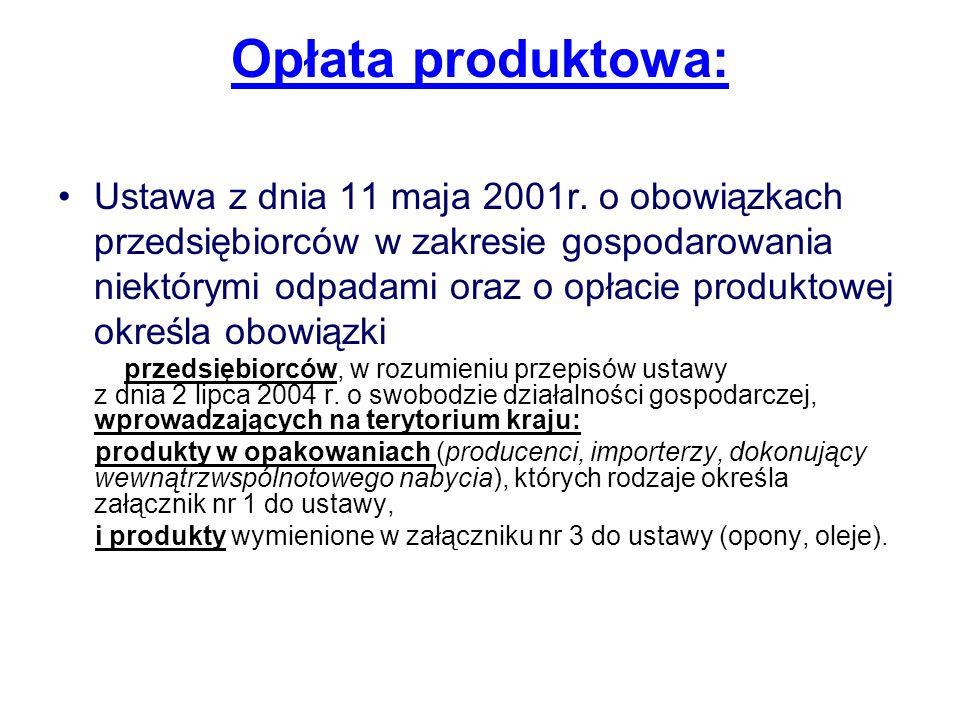 Opłata produktowa: Ustawa z dnia 11 maja 2001r. o obowiązkach przedsiębiorców w zakresie gospodarowania niektórymi odpadami oraz o opłacie produktowej