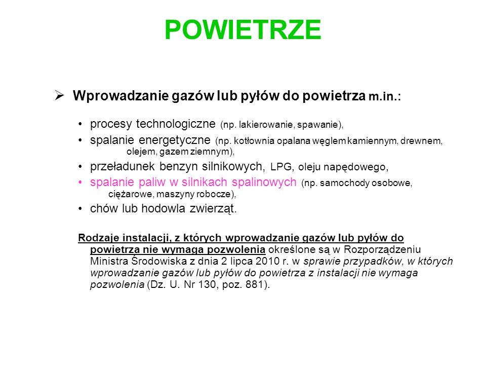 POWIETRZE Wprowadzanie gazów lub pyłów do powietrza m.in.: procesy technologiczne (np. lakierowanie, spawanie), spalanie energetyczne (np. kotłownia o