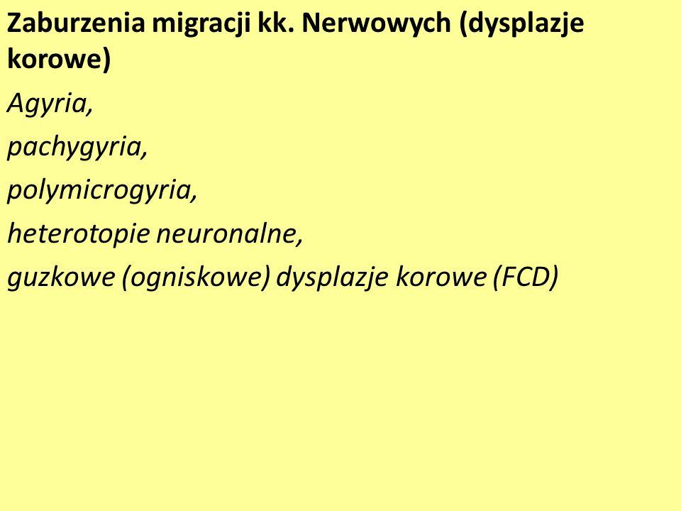 Zaburzenia migracji kk. Nerwowych (dysplazje korowe) Agyria, pachygyria, polymicrogyria, heterotopie neuronalne, guzkowe (ogniskowe) dysplazje korowe