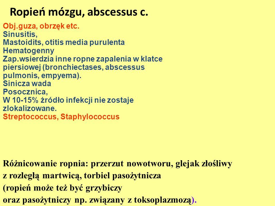 Ropień mózgu, abscessus c. Obj.guza, obrzęk etc. Sinusitis, Mastoidits, otitis media purulenta Hematogenny Zap.wsierdzia inne ropne zapalenia w klatce