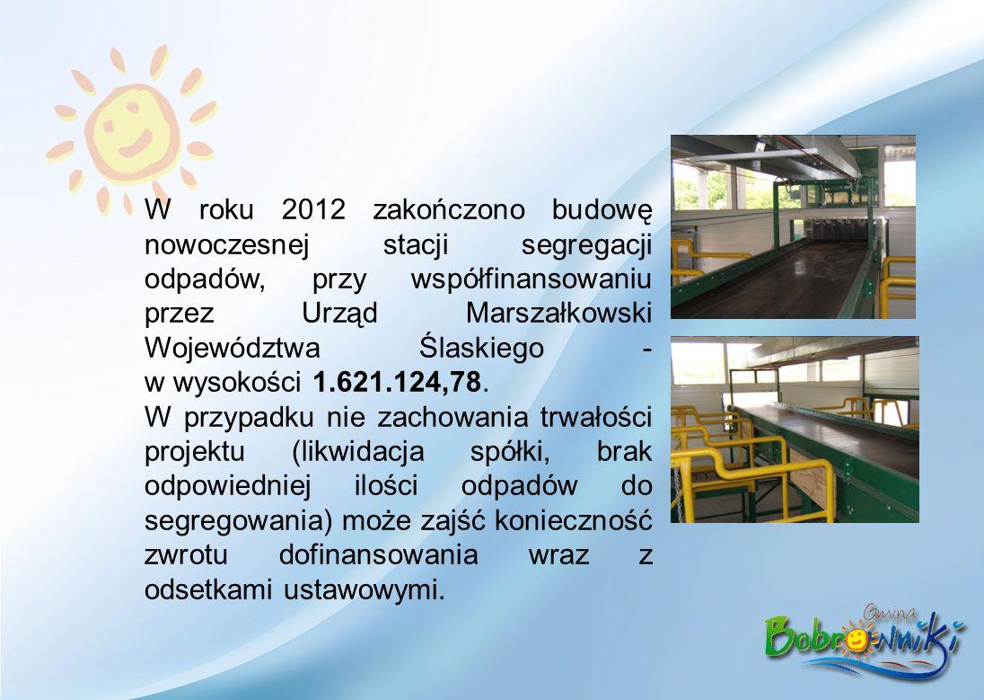 W roku 2012 zakończono budowę nowoczesnej stacji segregacji odpadów, przy współfinansowaniu przez Urząd Marszałkowski Województwa Ślaskiego - w wysokości 1.621.124,78.