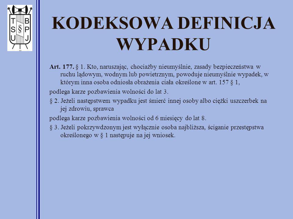 KODEKSOWA DEFINICJA WYPADKU Art. 177. § 1. Kto, naruszając, chociażby nieumyślnie, zasady bezpieczeństwa w ruchu lądowym, wodnym lub powietrznym, powo