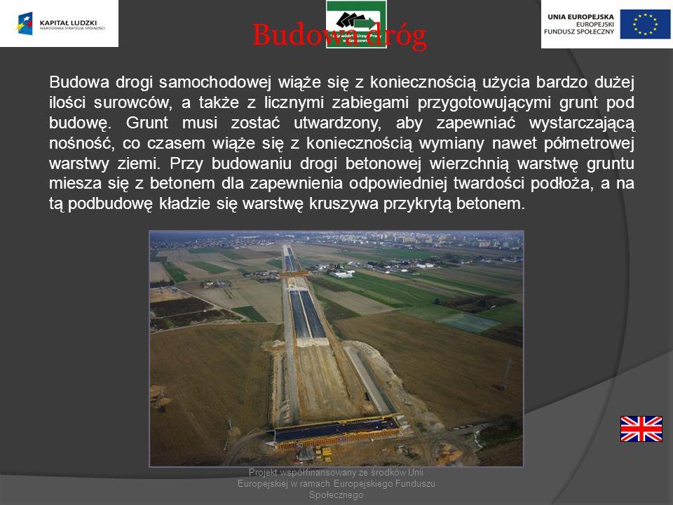 Budowa dróg Budowa drogi samochodowej wiąże się z koniecznością użycia bardzo dużej ilości surowców, a także z licznymi zabiegami przygotowującymi gru