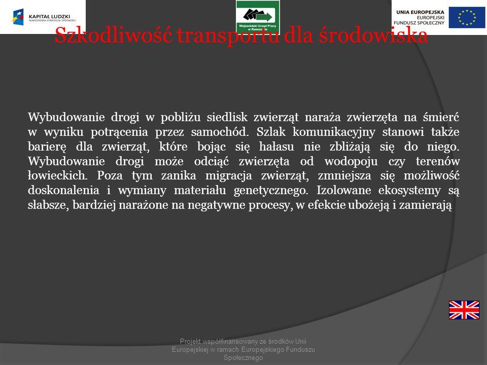 Projekt współfinansowany ze środków Unii Europejskiej w ramach Europejskiego Funduszu Społecznego Szkodliwość transportu dla środowiska Wybudowanie dr