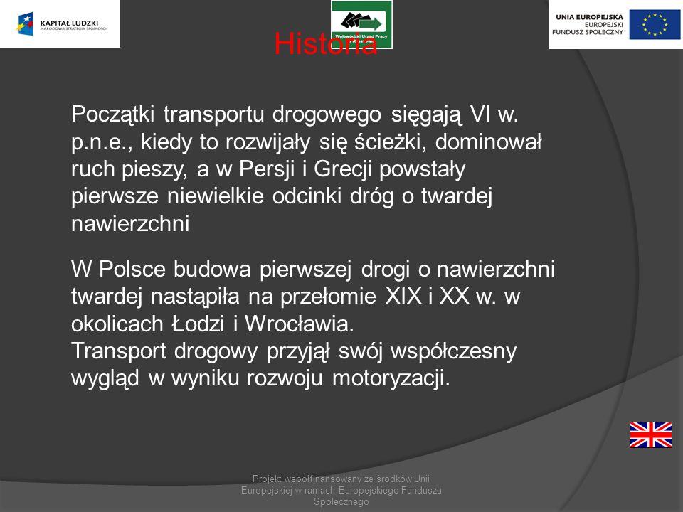 Projekt współfinansowany ze środków Unii Europejskiej w ramach Europejskiego Funduszu Społecznego Historia Początki transportu drogowego sięgają VI w.