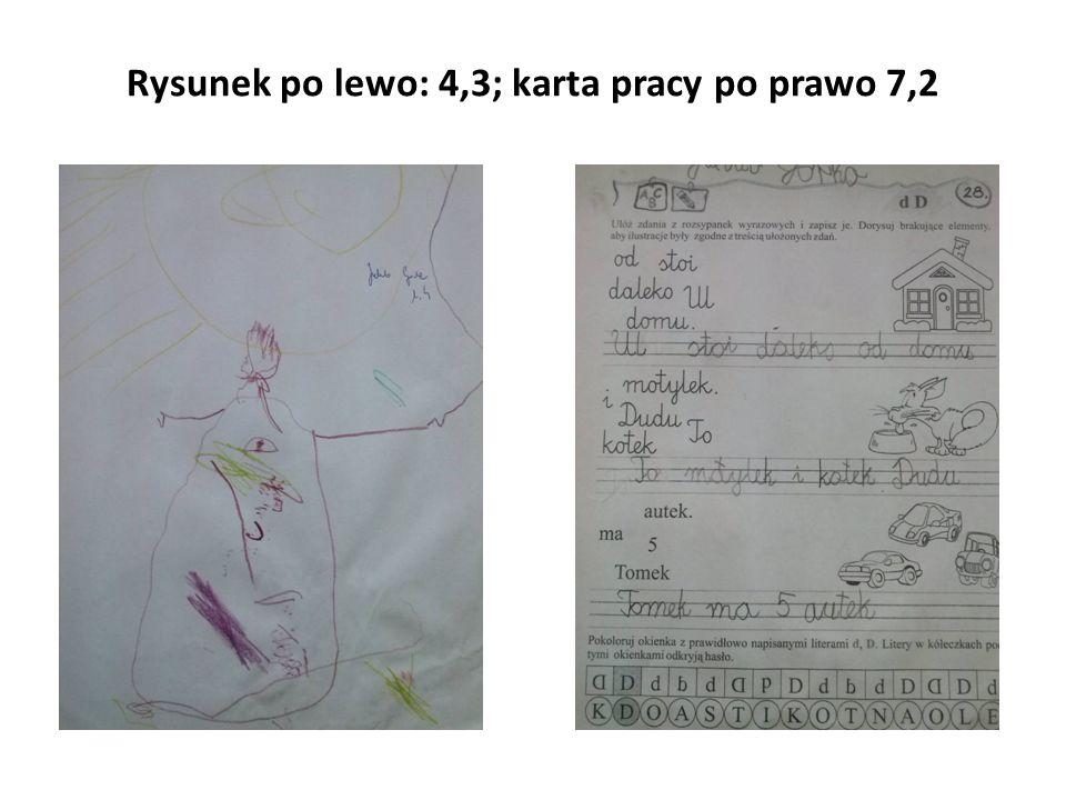 Rysunek po lewo: 4,3; karta pracy po prawo 7,2