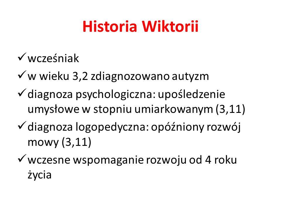 Historia Wiktorii wcześniak w wieku 3,2 zdiagnozowano autyzm diagnoza psychologiczna: upośledzenie umysłowe w stopniu umiarkowanym (3,11) diagnoza log