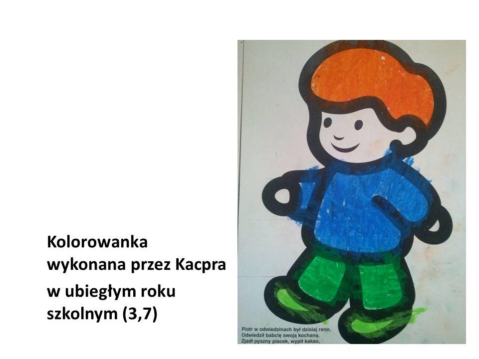 Kolorowanka wykonana przez Kacpra w ubiegłym roku szkolnym (3,7)