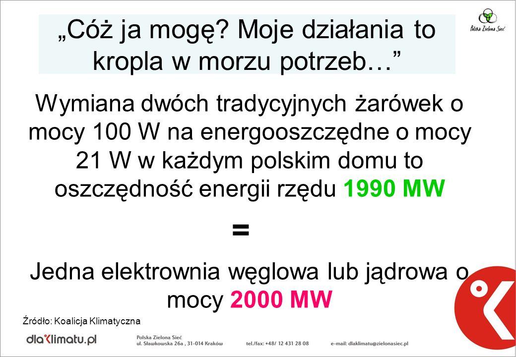 Cóż ja mogę? Moje działania to kropla w morzu potrzeb… Wymiana dwóch tradycyjnych żarówek o mocy 100 W na energooszczędne o mocy 21 W w każdym polskim