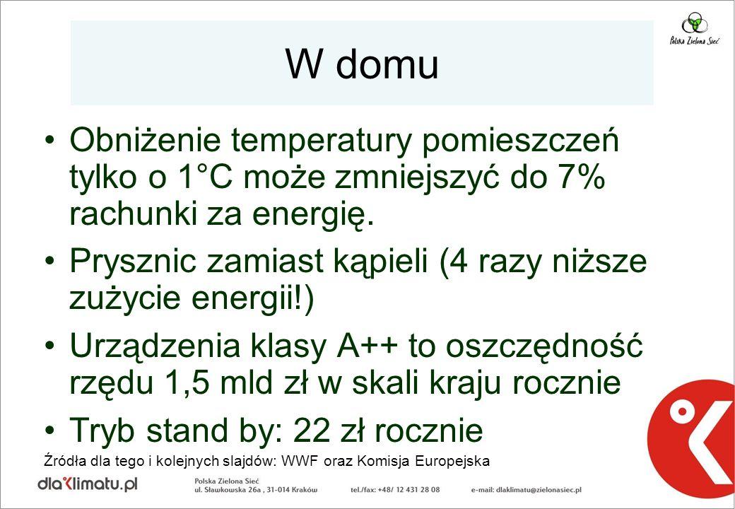 W domu Obniżenie temperatury pomieszczeń tylko o 1°C może zmniejszyć do 7% rachunki za energię. Prysznic zamiast kąpieli (4 razy niższe zużycie energi