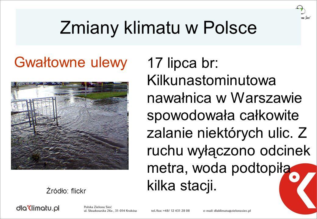 Zmiany klimatu w Polsce 17 lipca br: Kilkunastominutowa nawałnica w Warszawie spowodowała całkowite zalanie niektórych ulic. Z ruchu wyłączono odcinek