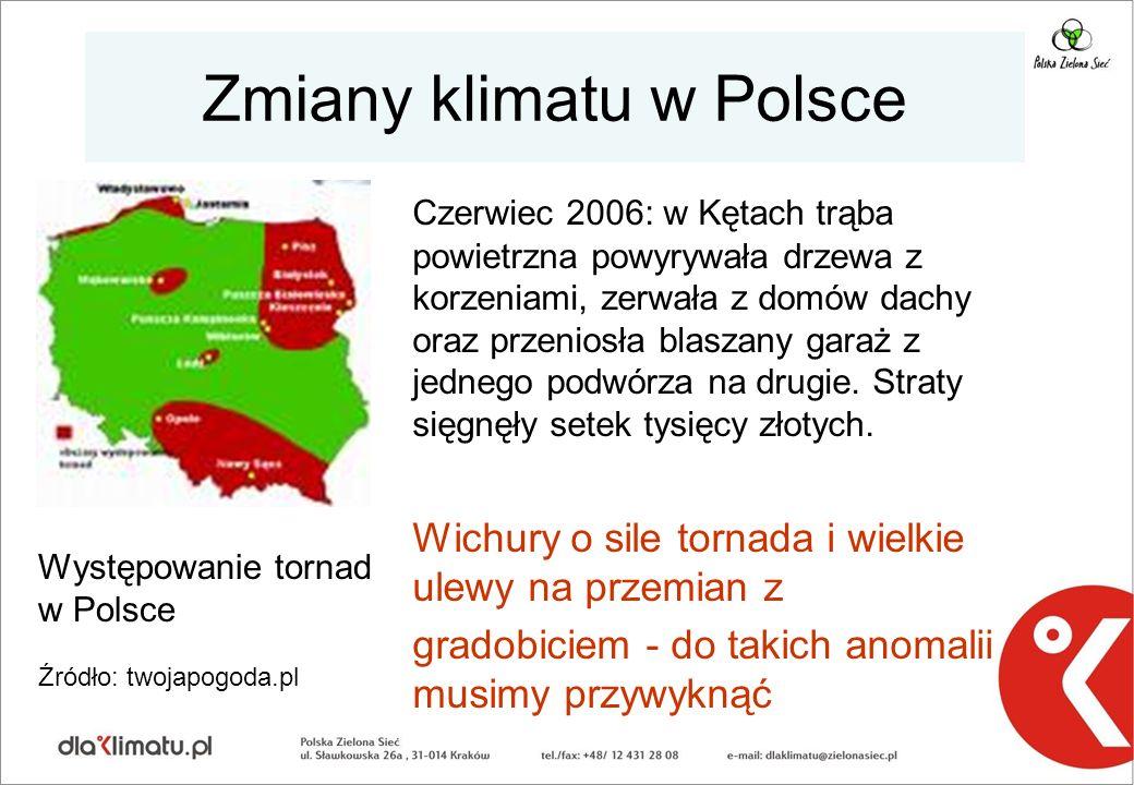 Zmiany klimatu w Polsce Czerwiec 2006: w Kętach trąba powietrzna powyrywała drzewa z korzeniami, zerwała z domów dachy oraz przeniosła blaszany garaż