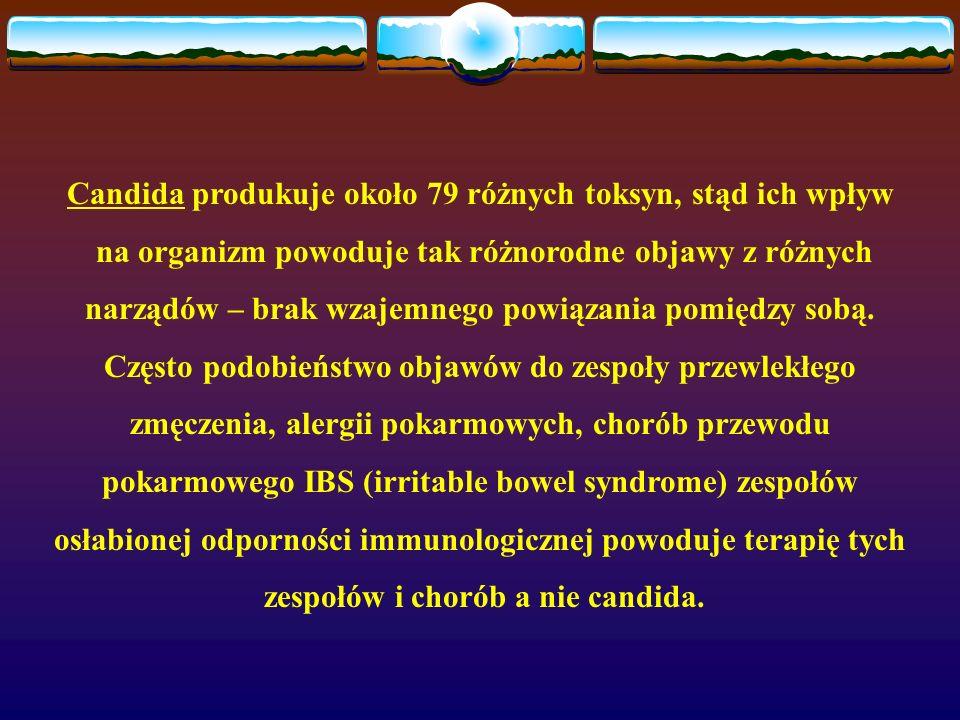 Candida produkuje około 79 różnych toksyn, stąd ich wpływ na organizm powoduje tak różnorodne objawy z różnych narządów – brak wzajemnego powiązania p