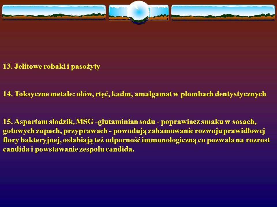 13. Jelitowe robaki i pasożyty 14. Toksyczne metale: ołów, rtęć, kadm, amalgamat w plombach dentystycznych 15. Aspartam słodzik, MSG -glutaminian sodu