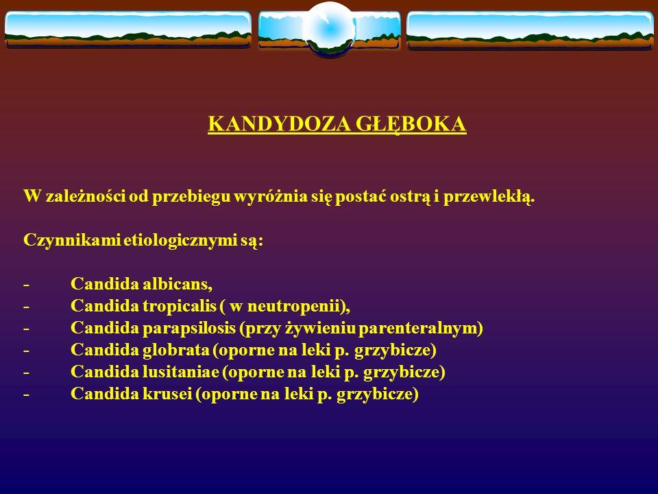 KANDYDOZA GŁĘBOKA W zależności od przebiegu wyróżnia się postać ostrą i przewlekłą. Czynnikami etiologicznymi są: - Candida albicans, - Candida tropic