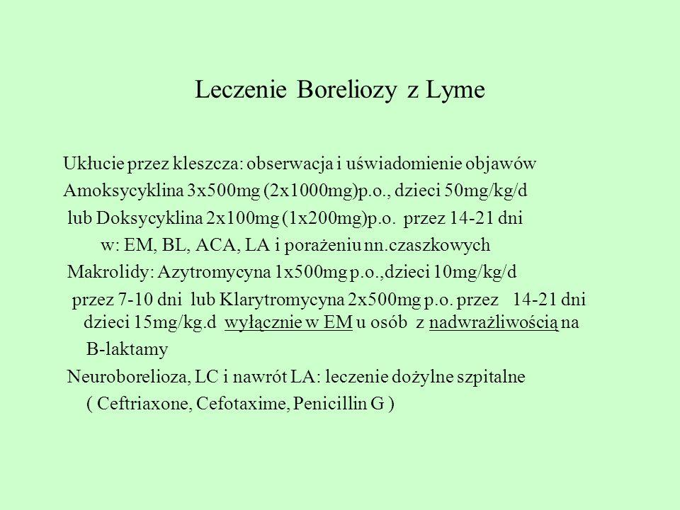 Leczenie Boreliozy z Lyme Ukłucie przez kleszcza: obserwacja i uświadomienie objawów Amoksycyklina 3x500mg (2x1000mg)p.o., dzieci 50mg/kg/d lub Doksyc