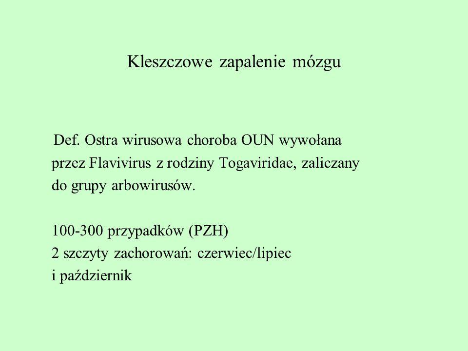 Kleszczowe zapalenie mózgu Def. Ostra wirusowa choroba OUN wywołana przez Flavivirus z rodziny Togaviridae, zaliczany do grupy arbowirusów. 100-300 pr