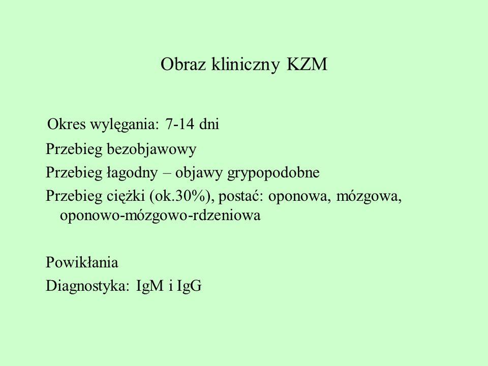 Obraz kliniczny KZM Okres wylęgania: 7-14 dni Przebieg bezobjawowy Przebieg łagodny – objawy grypopodobne Przebieg ciężki (ok.30%), postać: oponowa, m