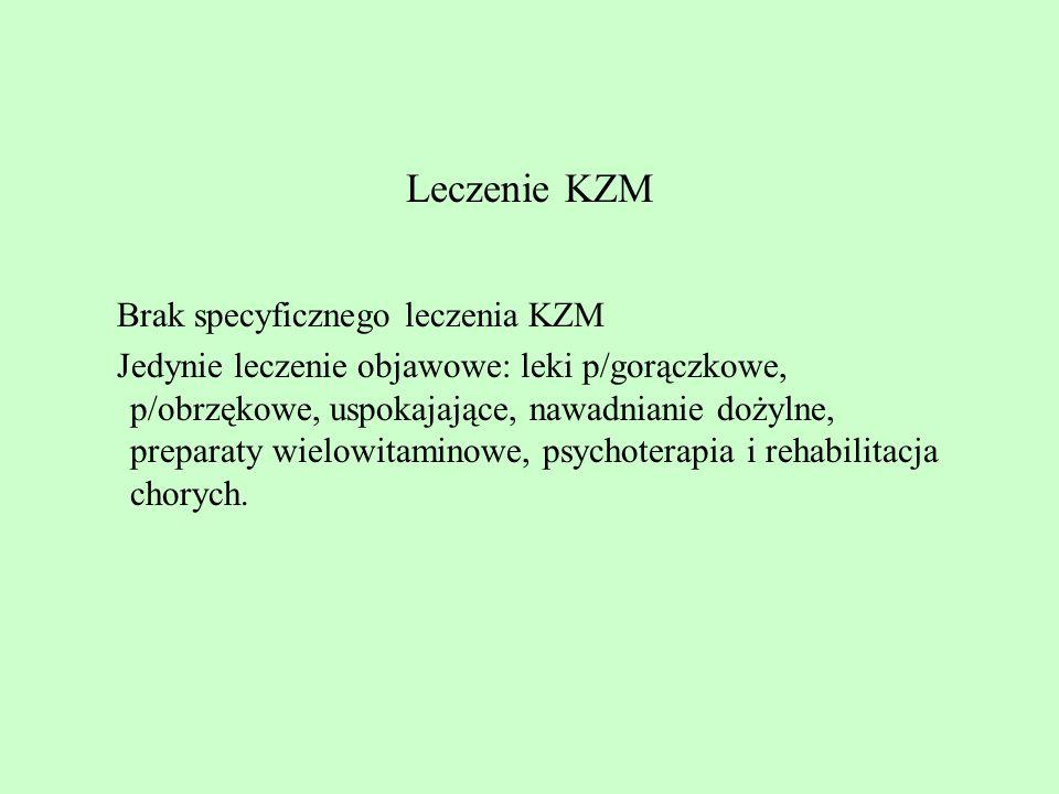 Leczenie KZM Brak specyficznego leczenia KZM Jedynie leczenie objawowe: leki p/gorączkowe, p/obrzękowe, uspokajające, nawadnianie dożylne, preparaty w