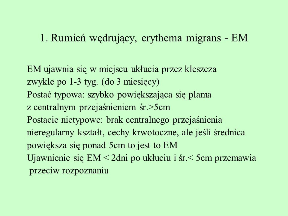 2.Borrelial lymphocytoma ( BL ) IgM lub IgG + hist-pat Ujawnia się u < 1% chorych kilka tyg.