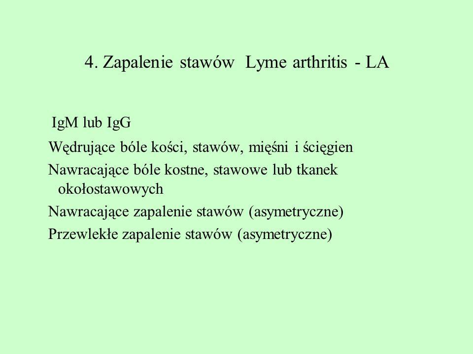 4. Zapalenie stawów Lyme arthritis - LA IgM lub IgG Wędrujące bóle kości, stawów, mięśni i ścięgien Nawracające bóle kostne, stawowe lub tkanek okołos