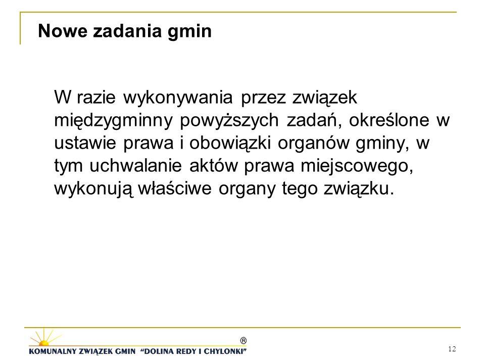 12 Nowe zadania gmin W razie wykonywania przez związek międzygminny powyższych zadań, określone w ustawie prawa i obowiązki organów gminy, w tym uchwa