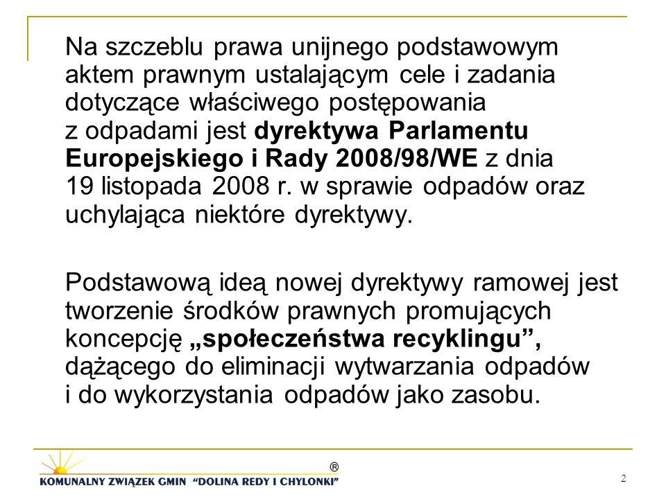 2 Na szczeblu prawa unijnego podstawowym aktem prawnym ustalającym cele i zadania dotyczące właściwego postępowania z odpadami jest dyrektywa Parlamen