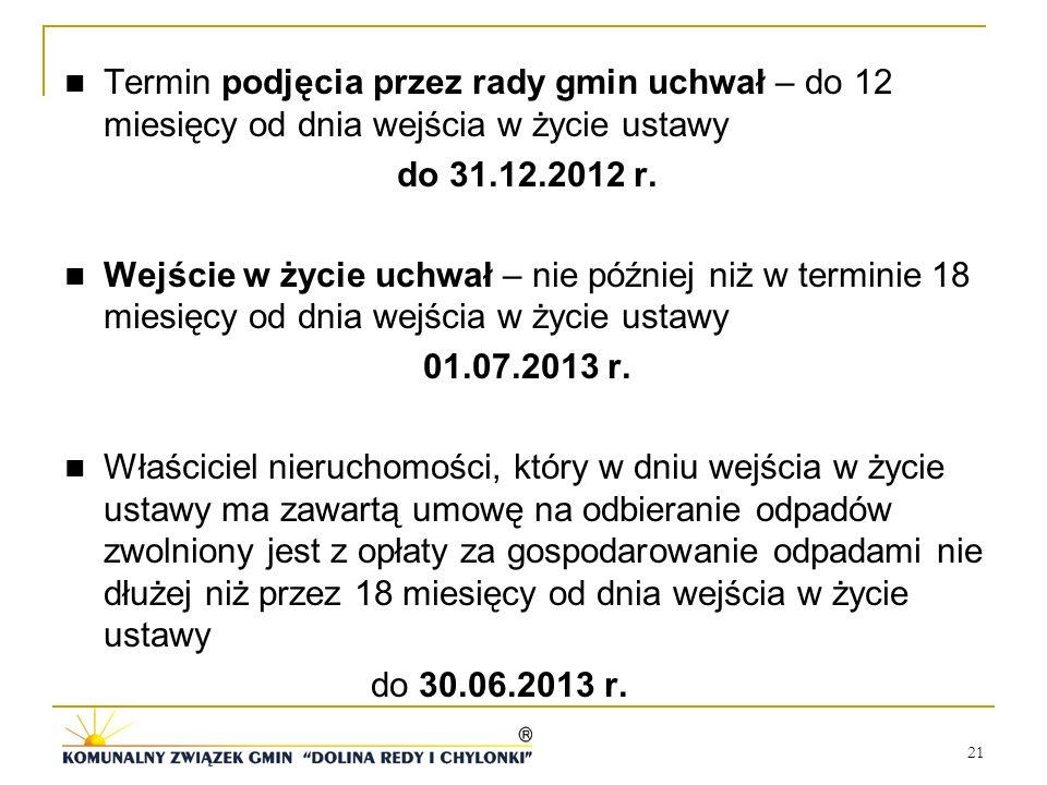 21 Termin podjęcia przez rady gmin uchwał – do 12 miesięcy od dnia wejścia w życie ustawy do 31.12.2012 r. Wejście w życie uchwał – nie później niż w