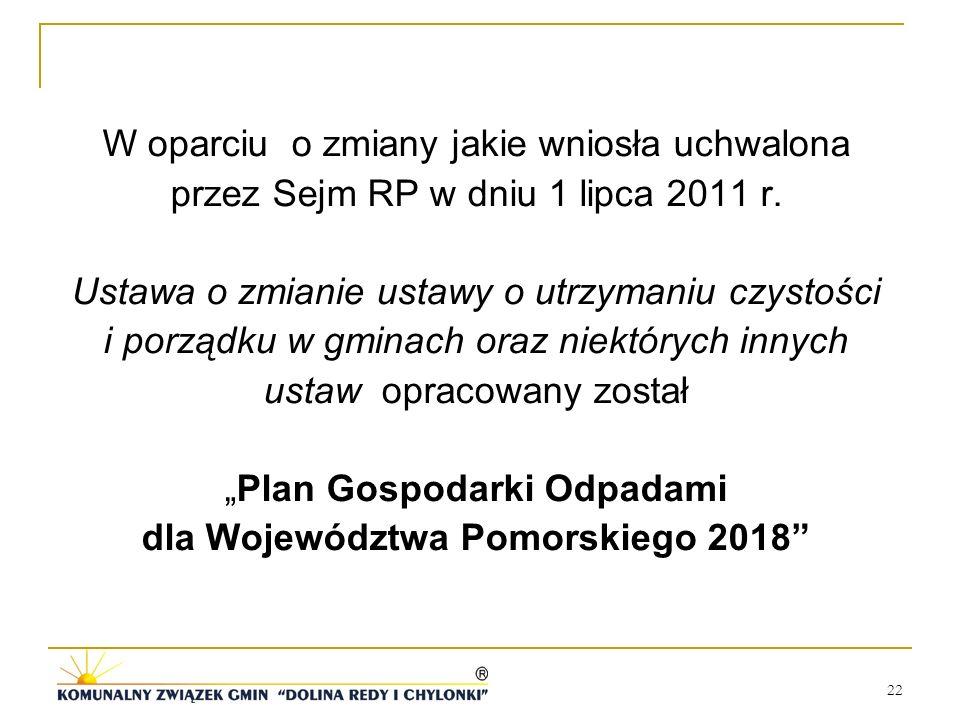 22 W oparciu o zmiany jakie wniosła uchwalona przez Sejm RP w dniu 1 lipca 2011 r. Ustawa o zmianie ustawy o utrzymaniu czystości i porządku w gminach