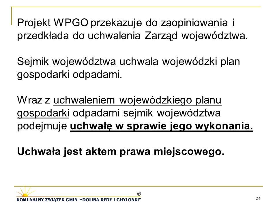 24 Projekt WPGO przekazuje do zaopiniowania i przedkłada do uchwalenia Zarząd województwa. Sejmik województwa uchwala wojewódzki plan gospodarki odpad
