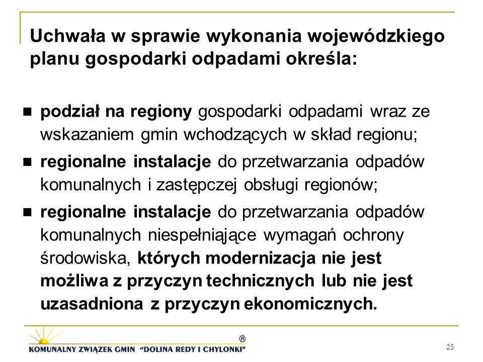 25 podział na regiony gospodarki odpadami wraz ze wskazaniem gmin wchodzących w skład regionu; regionalne instalacje do przetwarzania odpadów komunaln