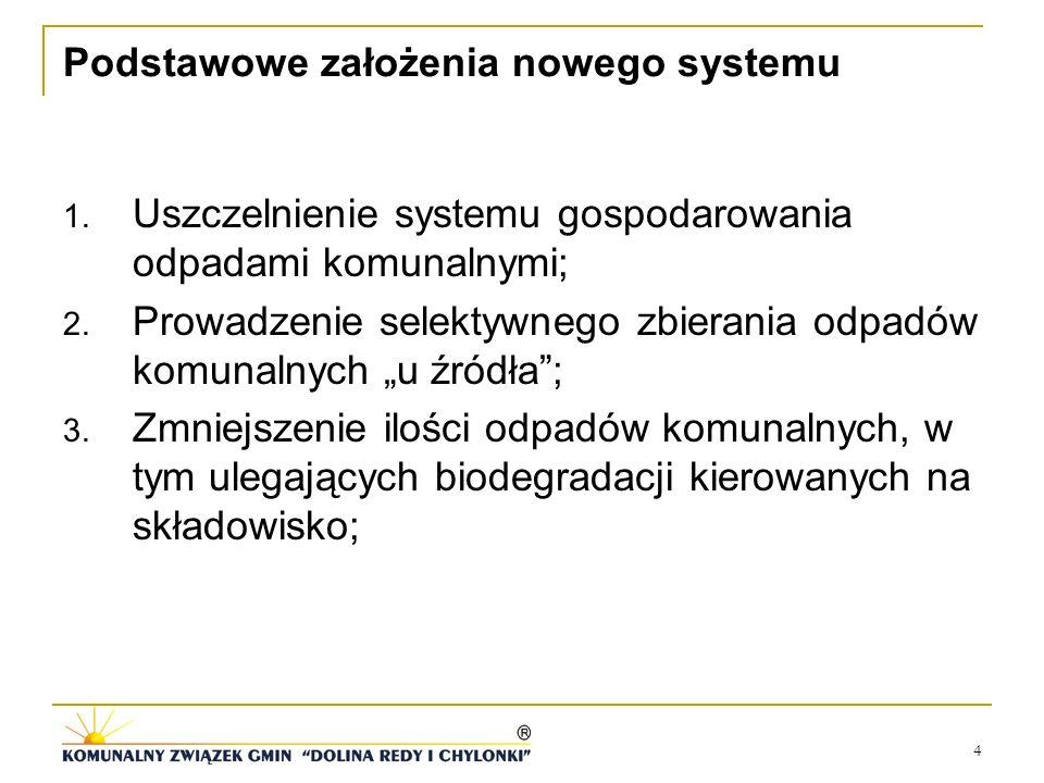4 Podstawowe założenia nowego systemu 1. Uszczelnienie systemu gospodarowania odpadami komunalnymi; 2. Prowadzenie selektywnego zbierania odpadów komu