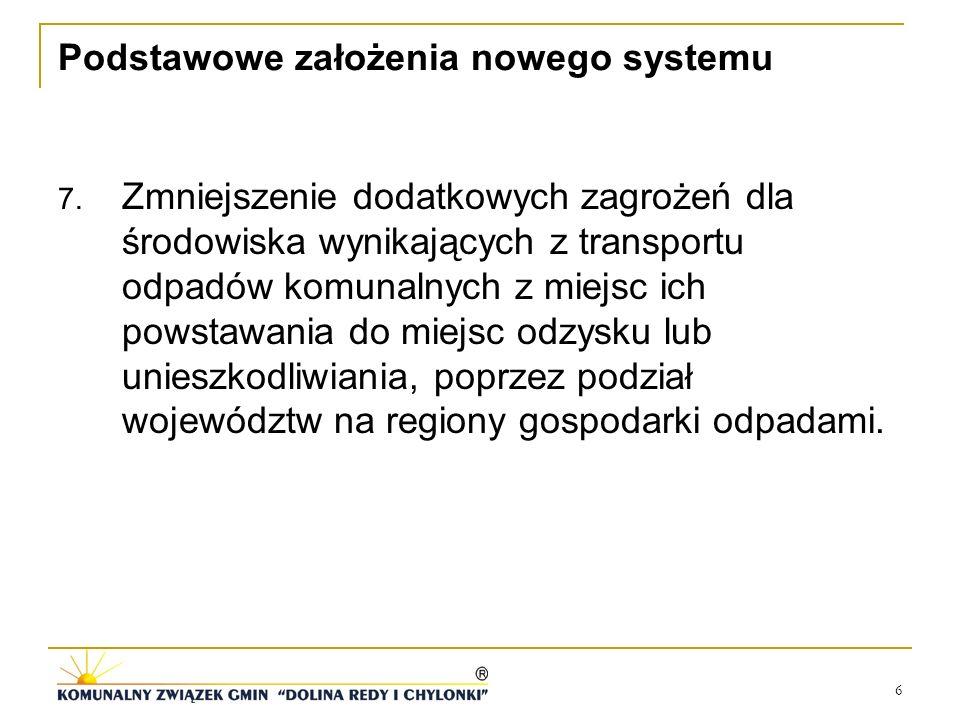 6 Podstawowe założenia nowego systemu 7. Zmniejszenie dodatkowych zagrożeń dla środowiska wynikających z transportu odpadów komunalnych z miejsc ich p