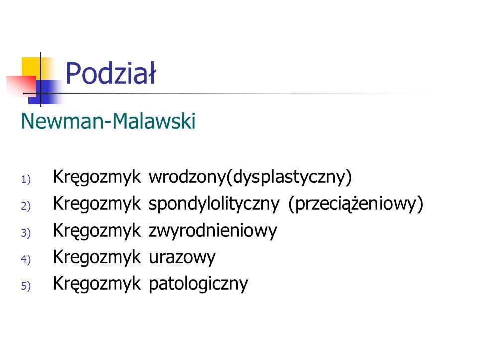 Podział Newman-Malawski 1) Kręgozmyk wrodzony(dysplastyczny) 2) Kregozmyk spondylolityczny (przeciążeniowy) 3) Kręgozmyk zwyrodnieniowy 4) Kregozmyk u