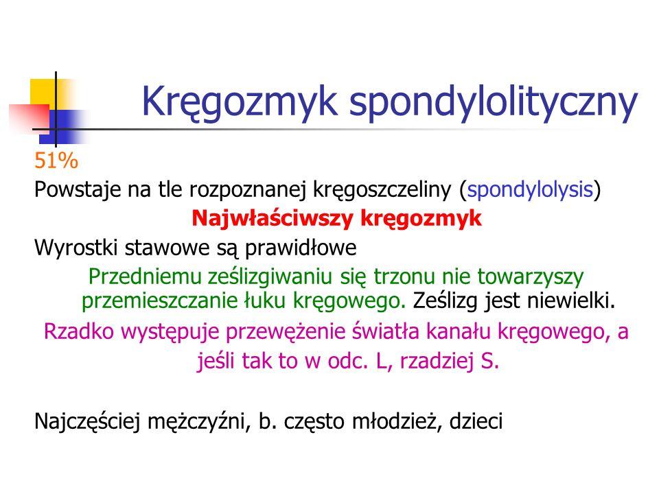 Kręgozmyk spondylolityczny 51% Powstaje na tle rozpoznanej kręgoszczeliny (spondylolysis) Najwłaściwszy kręgozmyk Wyrostki stawowe są prawidłowe Przed