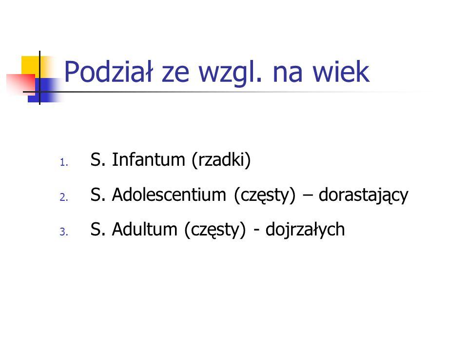 Podział ze wzgl. na wiek 1. S. Infantum (rzadki) 2. S. Adolescentium (częsty) – dorastający 3. S. Adultum (częsty) - dojrzałych