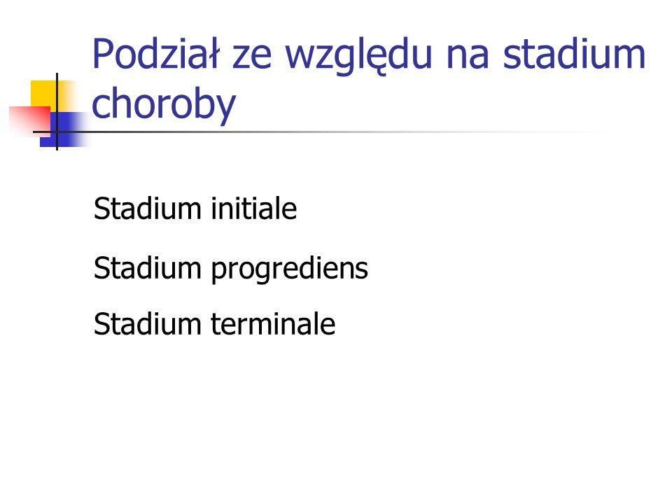 Podział ze względu na stadium choroby Stadium initiale Stadium progrediens Stadium terminale