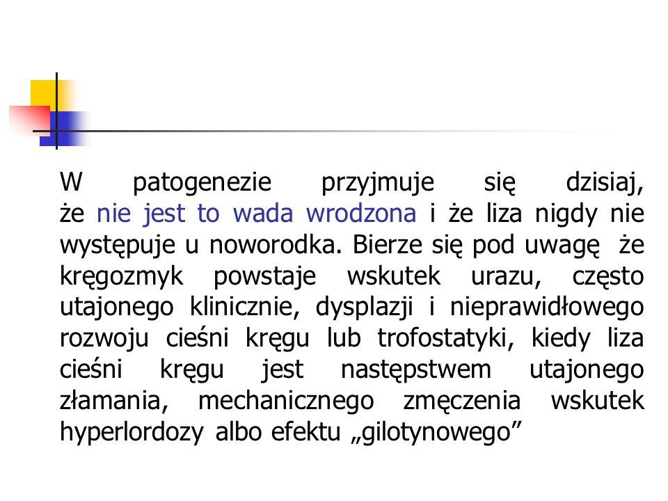 Whitman wyróżnia szereg czynników zwanych prespondylolisthesis: 1 - spondylolysis 2 - sacrum horizontale lub sacrum acutum (Scherb) o kącie ok.