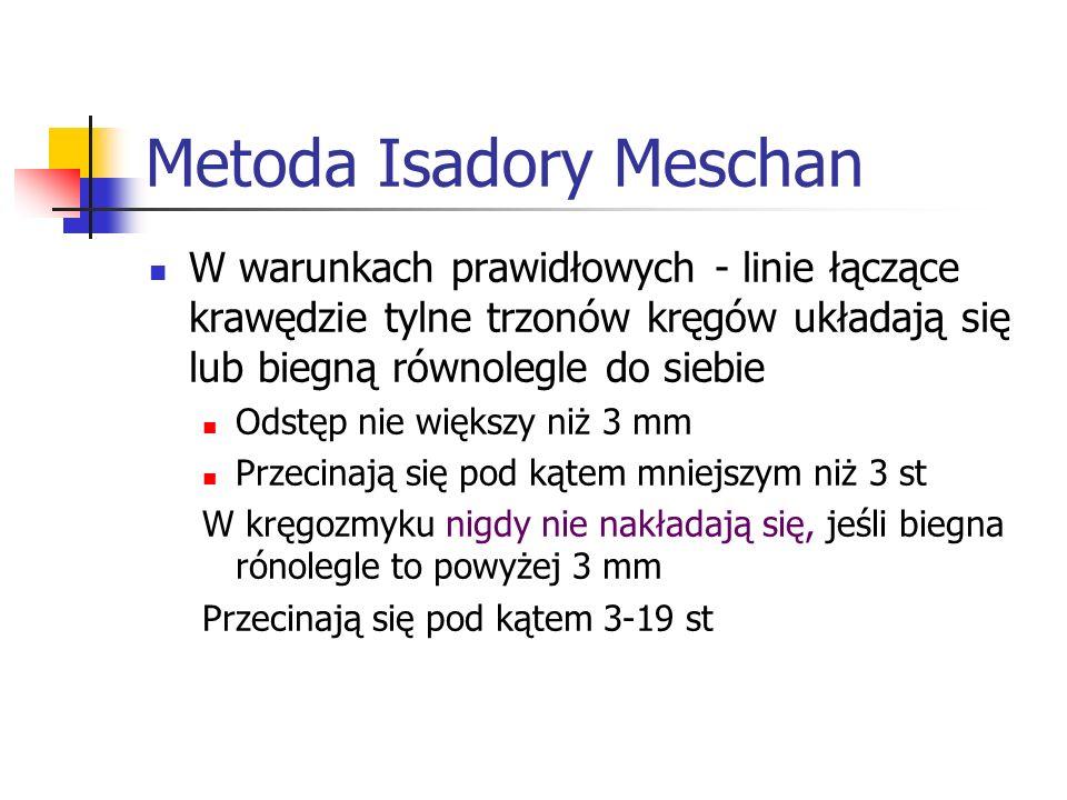 Metoda Isadory Meschan W warunkach prawidłowych - linie łączące krawędzie tylne trzonów kręgów układają się lub biegną równolegle do siebie Odstęp nie