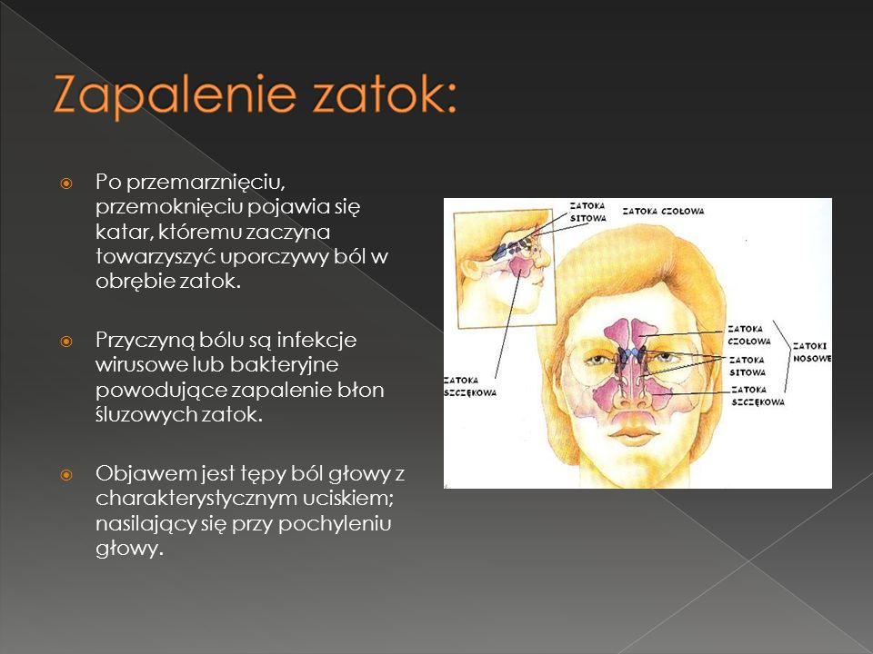 Po przemarznięciu, przemoknięciu pojawia się katar, któremu zaczyna towarzyszyć uporczywy ból w obrębie zatok. Przyczyną bólu są infekcje wirusowe lub