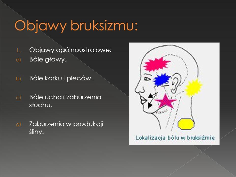 1. Objawy ogólnoustrojowe: a) Bóle głowy. b) Bóle karku i pleców. c) Bóle ucha i zaburzenia słuchu. d) Zaburzenia w produkcji śliny.