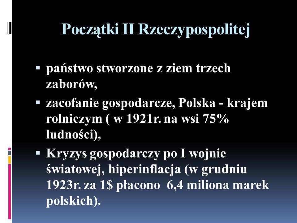 Początki II Rzeczypospolitej państwo stworzone z ziem trzech zaborów, zacofanie gospodarcze, Polska - krajem rolniczym ( w 1921r.