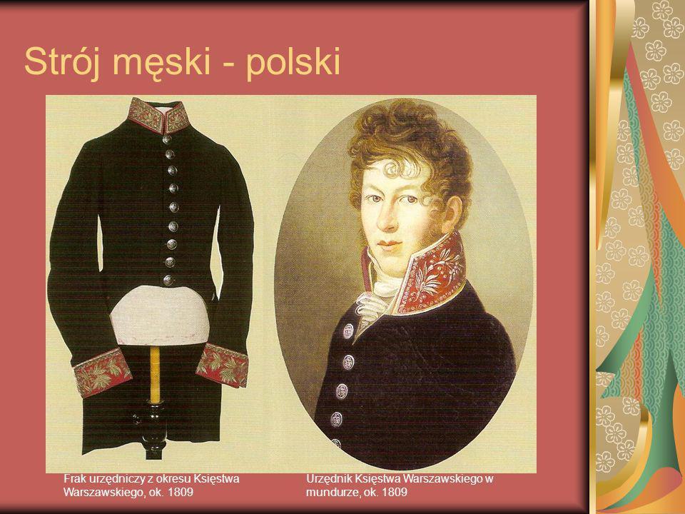 Strój męski - polski Urzędnik Księstwa Warszawskiego w mundurze, ok. 1809 Frak urzędniczy z okresu Księstwa Warszawskiego, ok. 1809
