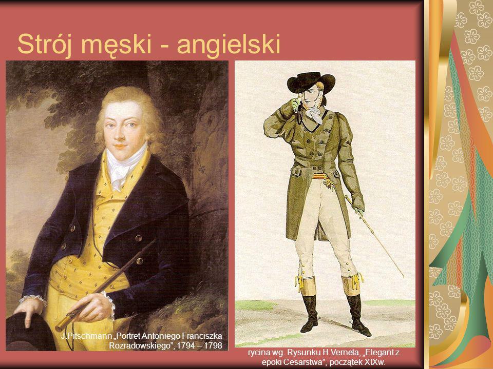 Strój męski - angielski - frak modny ok.1800r, - kołnierz o dużych, miękko wywiniętych klapach.