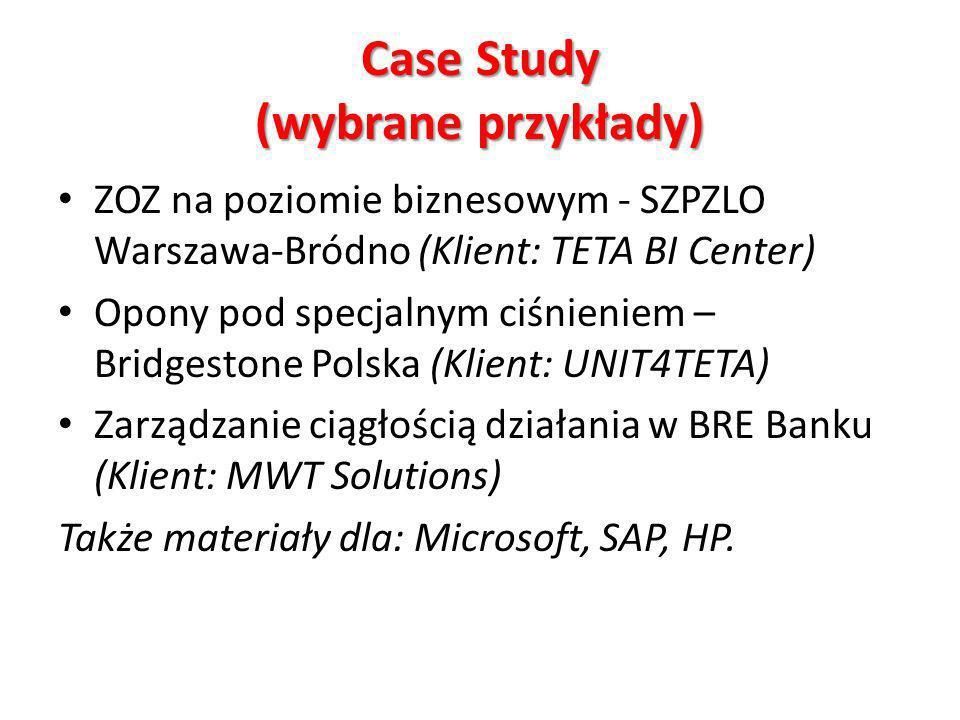 Case Study (wybrane przykłady) ZOZ na poziomie biznesowym - SZPZLO Warszawa-Bródno (Klient: TETA BI Center) Opony pod specjalnym ciśnieniem – Bridgestone Polska (Klient: UNIT4TETA) Zarządzanie ciągłością działania w BRE Banku (Klient: MWT Solutions) Także materiały dla: Microsoft, SAP, HP.