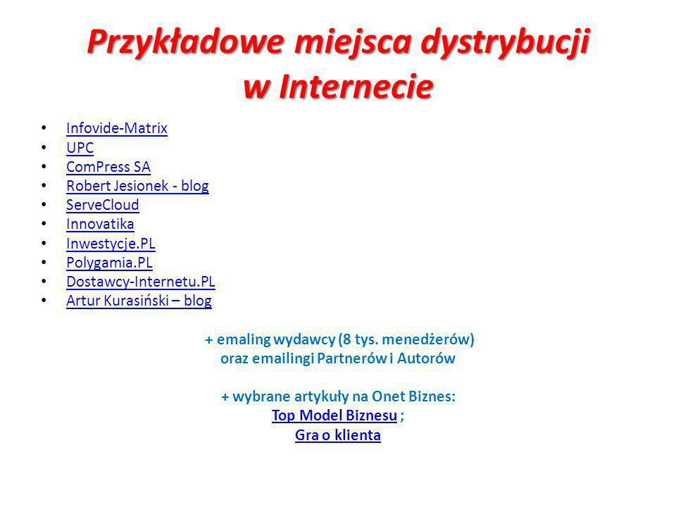 Przykładowe miejsca dystrybucji w Internecie Infovide-Matrix UPC ComPress SA Robert Jesionek - blog ServeCloud Innovatika Inwestycje.PL Polygamia.PL Dostawcy-Internetu.PL Artur Kurasiński – blog + emaling wydawcy (8 tys.