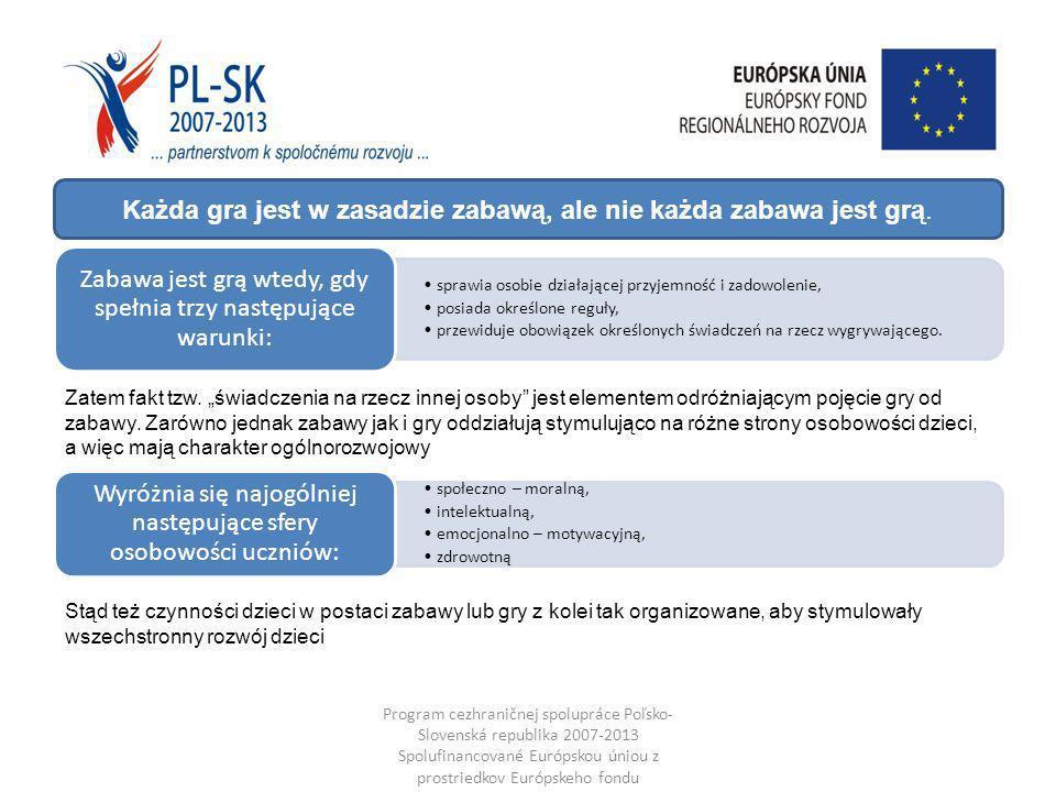 Program cezhraničnej spolupráce Poľsko- Slovenská republika 2007-2013 Spolufinancované Európskou úniou z prostriedkov Európskeho fondu regionálneho rozvoja sprawia osobie działającej przyjemność i zadowolenie, posiada określone reguły, przewiduje obowiązek określonych świadczeń na rzecz wygrywającego.