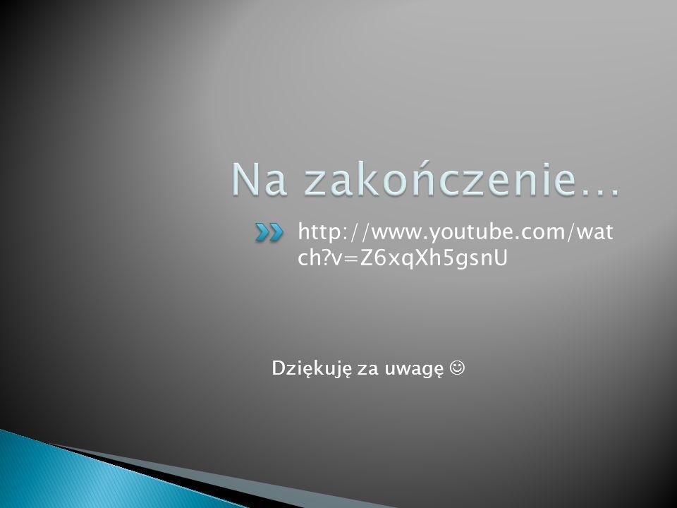 http://www.youtube.com/wat ch?v=Z6xqXh5gsnU Dziękuję za uwagę