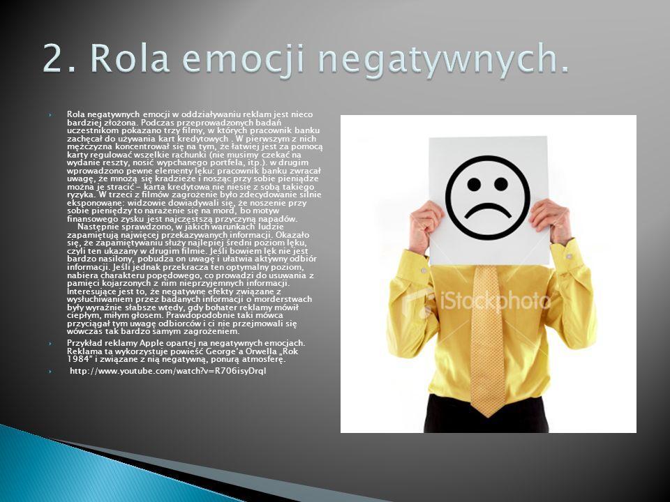 Rola negatywnych emocji w oddziaływaniu reklam jest nieco bardziej złożona. Podczas przeprowadzonych badań uczestnikom pokazano trzy filmy, w których